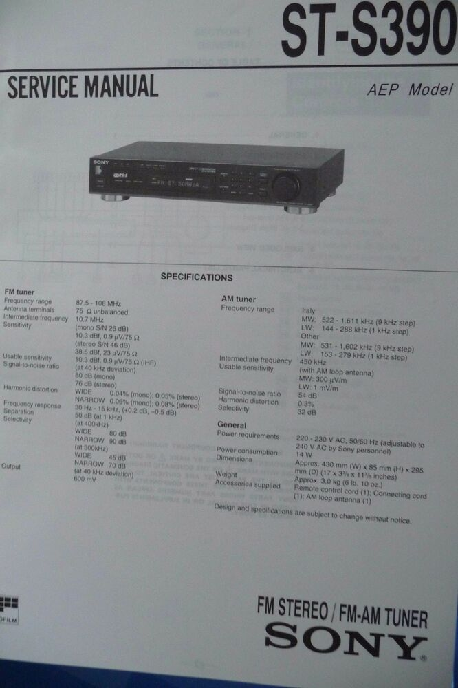 Service Manual For Sony St S390 Tuner Original Ebay