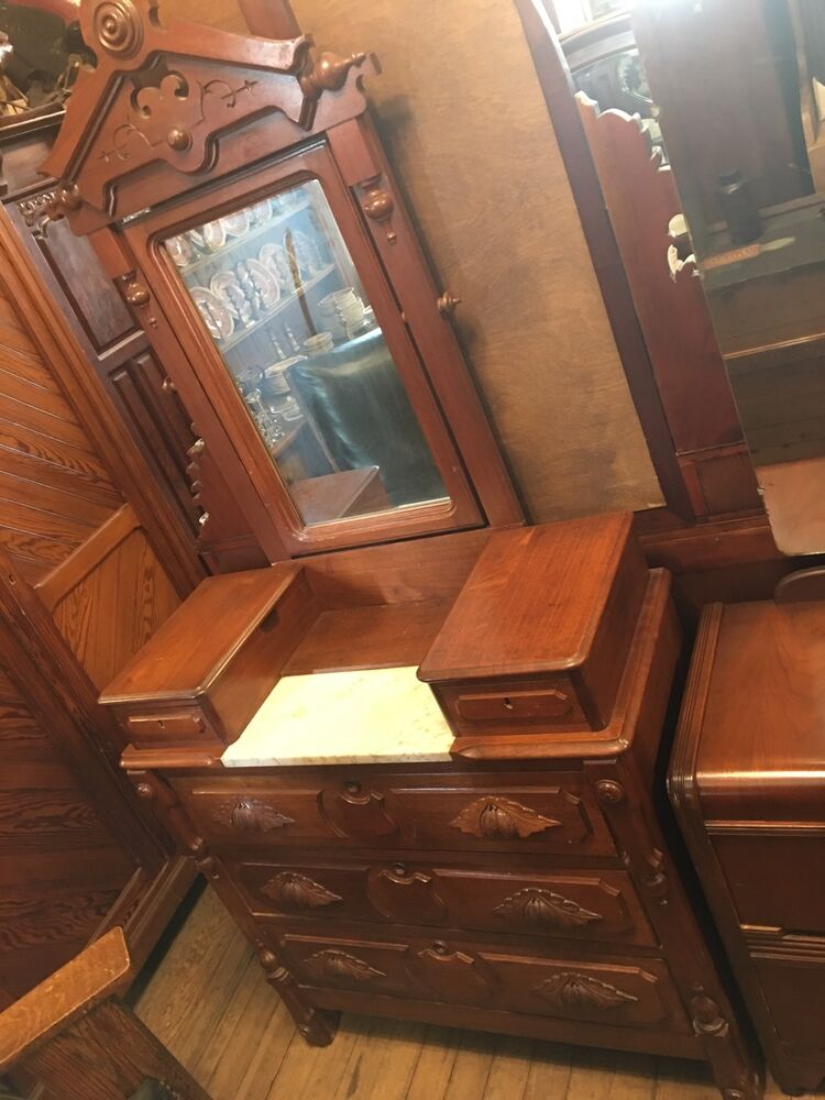 Eastlake Victorian Walnut Drop Center Marble Top Dresser