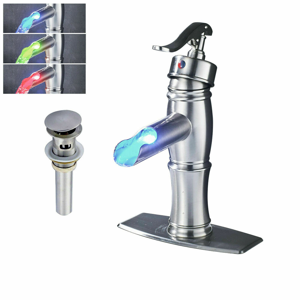 Led Waterfall Bathroom Sink Faucet Mixer Tap Cover Brass