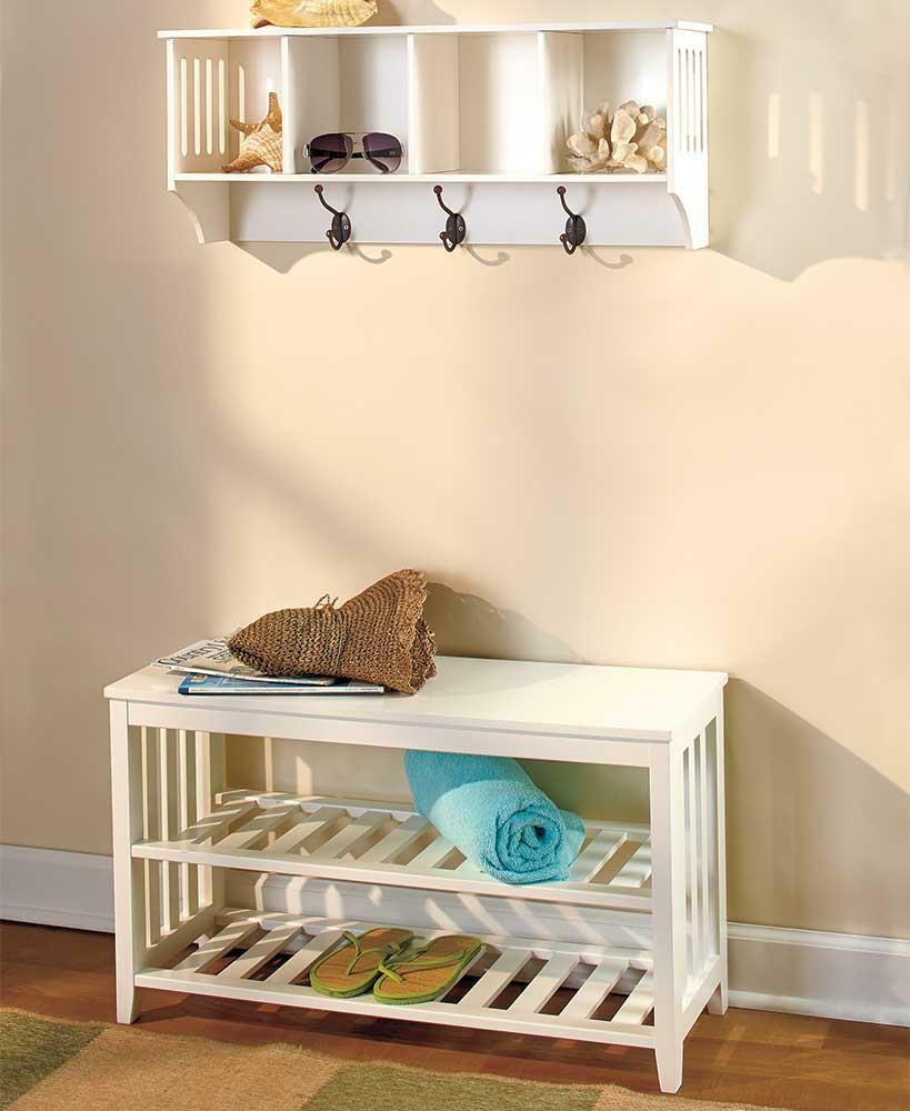 new 2 pc white wooden entryway wall shelf hall bench storage seat set mudroom ebay. Black Bedroom Furniture Sets. Home Design Ideas