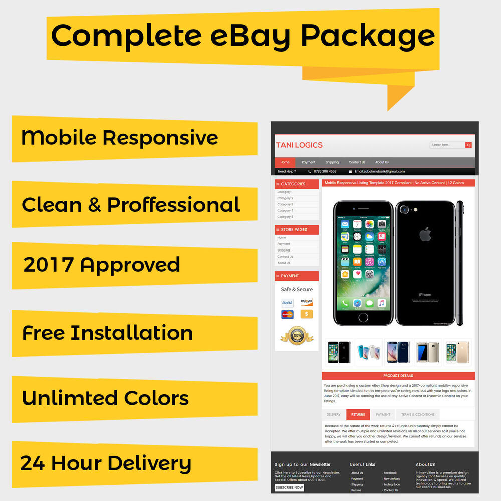 Mobile responsive ebay listing template auction 2017 approved html universal ebay for Free ebay templates 2017