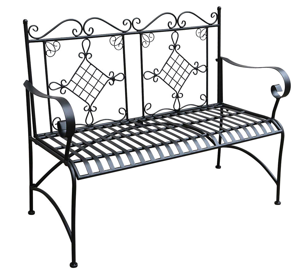 gartenbank bank antik stil garten metall eisen schwarz m bel parkbank 105cm ebay. Black Bedroom Furniture Sets. Home Design Ideas