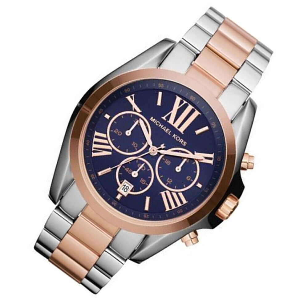 0bc13887a777 Details about 100% New Michael Kors Bradshaw Oversize Silver Rose Gold  Unisex Watch MK5606