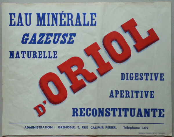 Grenoble - Eau d'Oriol, Cornillon en Trieves - Affiche ancienne originale/poster