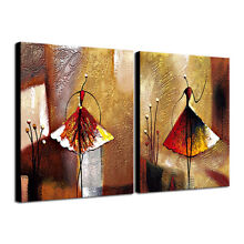 Abstract Hand Paint Oil Painting on Canvas Wall Art Home Decor Ballet Girl Brown