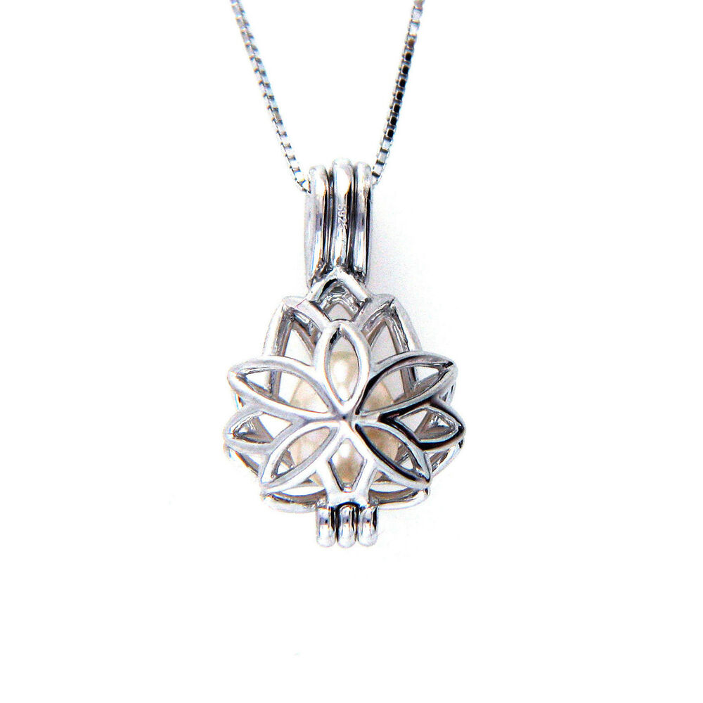 925 Sterling Silver Lotus Flower Cage Pendant Pearl Necklace 16 24