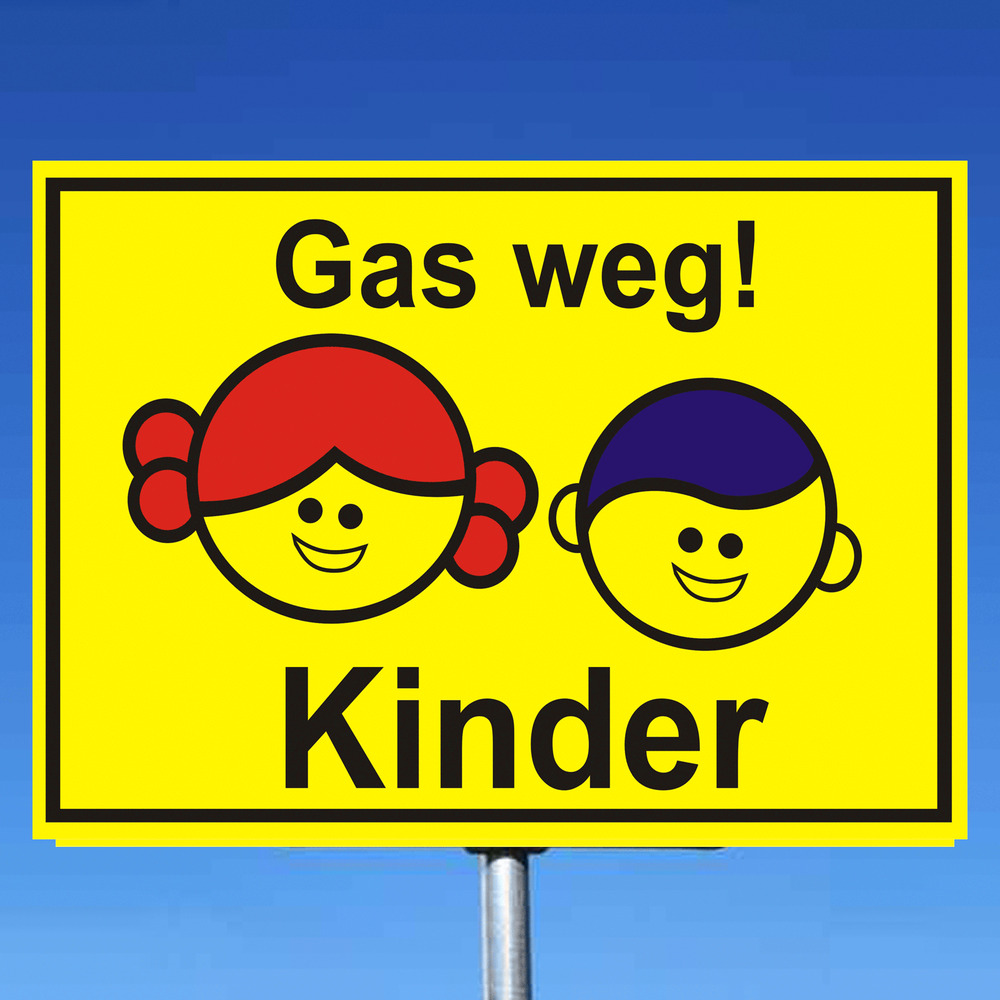 achtung kinder schild gas weg kinder skq333e warnschild. Black Bedroom Furniture Sets. Home Design Ideas