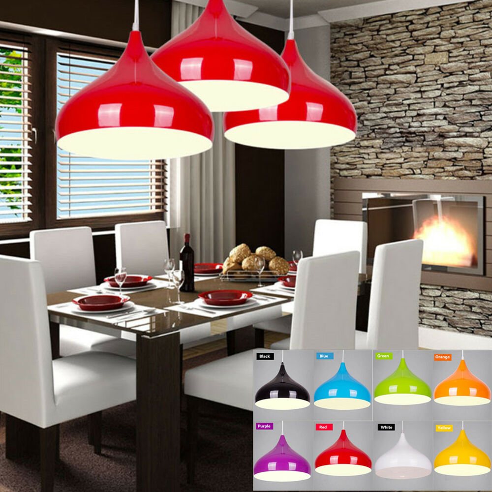 Details about modern aluminum pendant ceiling lamp light fixture dinning cafe kitchen 8 colors