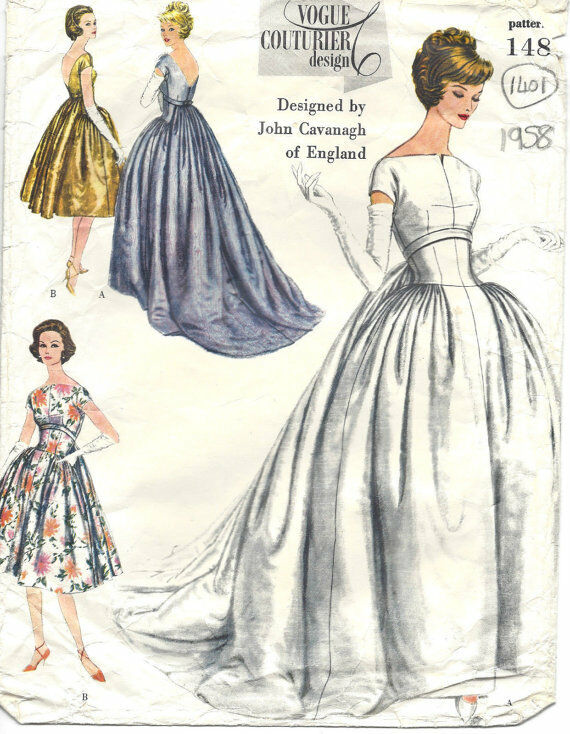 1958 Vintage Vogue Sewing Pattern B34 Evening Dress Gown