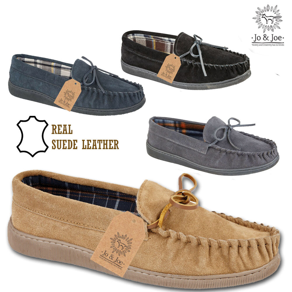 Mens Gents Real Suede Leather Moccasin Slippers Comfort