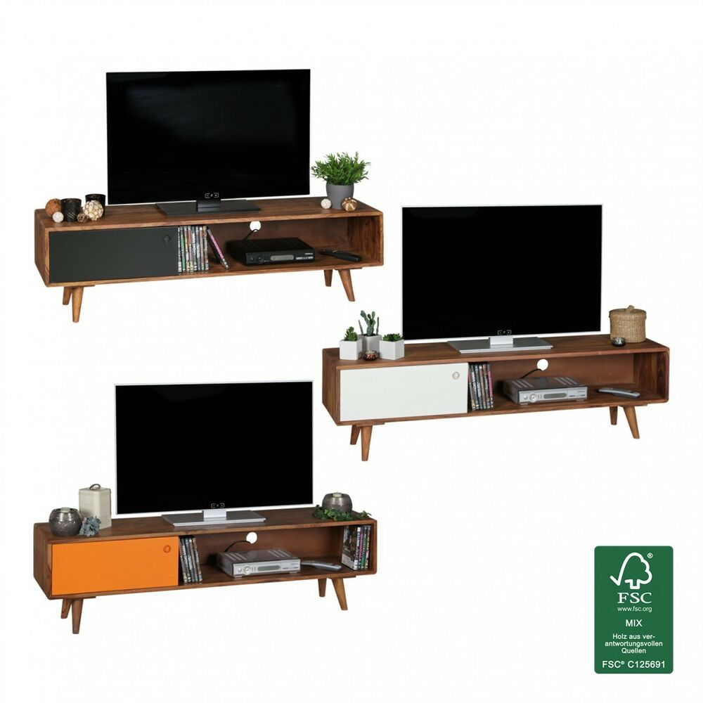 lowboard with door tv hifi shelf retro tv cabinet dark. Black Bedroom Furniture Sets. Home Design Ideas