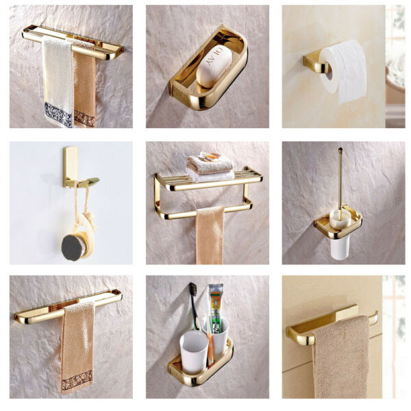 Luxury Gold Color Brass Bathroom Accessories Set Bath Hardware Towel Bar yset001