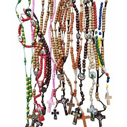 Kyпить 12 x Mixed Wood Beads Rosary Wood Crucifix Necklace Wood Rosary Baptism Memories на еВаy.соm