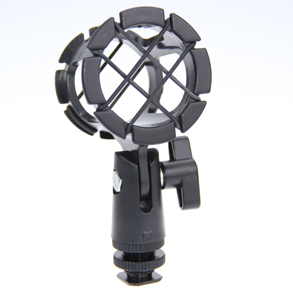 universal microphone shock mount holder stand mic clip with hot shoe for shotgun ebay. Black Bedroom Furniture Sets. Home Design Ideas