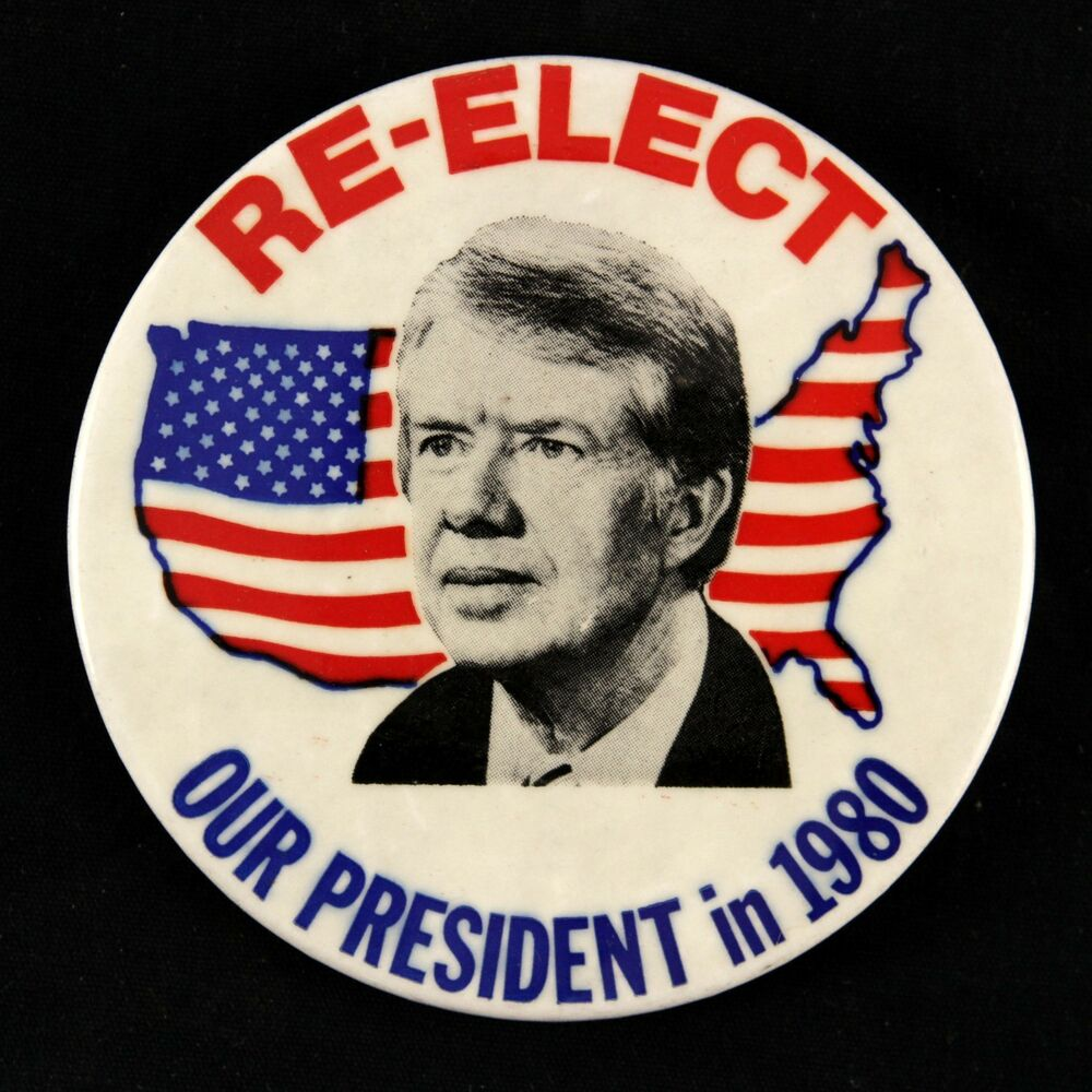 """1980 Jimmy Carter """"Re-Elect Our President In 1980"""" 3.5"""
