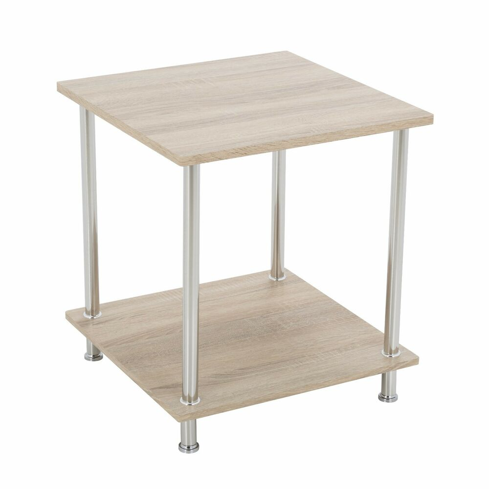 Details About Oak Effect Square Side Table Coffee End Lamp Wood With Chrome Metal Legs