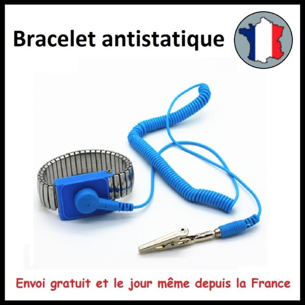 BRACELET ANTISTATIQUE ELECTRICITE STATIQUE DECHARGE ELECTRONIQUE TERRE MASSE MAF