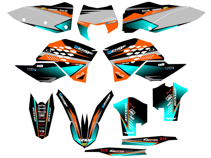 2008 2009 2010 Xc 125 200 250 300 450 525 530 Graphics Kit Fits Ktm Deco Decals