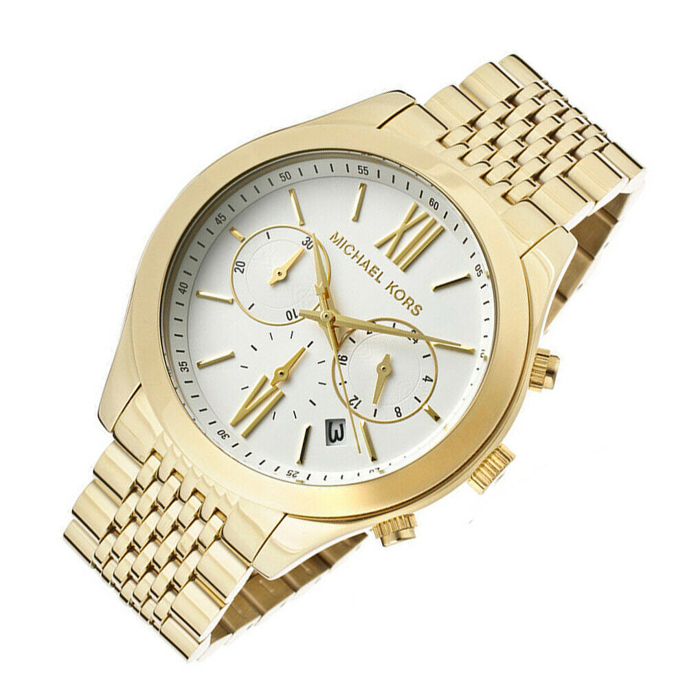 2ef8bb5e8e1b New In Box Michael Kors MK5762 Brookton Gold Chronograph White Dial Women  Watch 691464005085