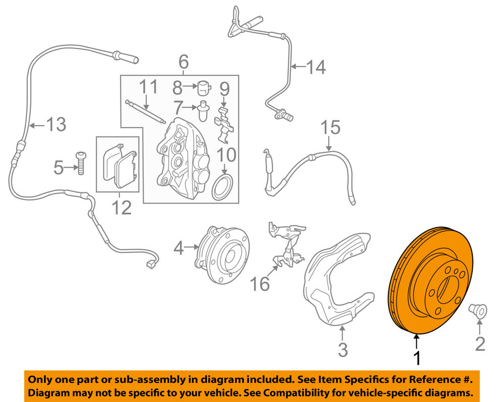 details about bmw oem 14-16 335i gt xdrive-disc brake rotor 34106797603