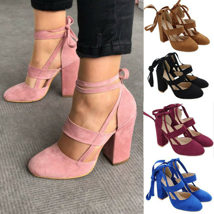 00a0e6050917 Details about Women Block Heel Suede Pointed Toe Lace Up Ankle Strappy  Chunky Sandals Shoes