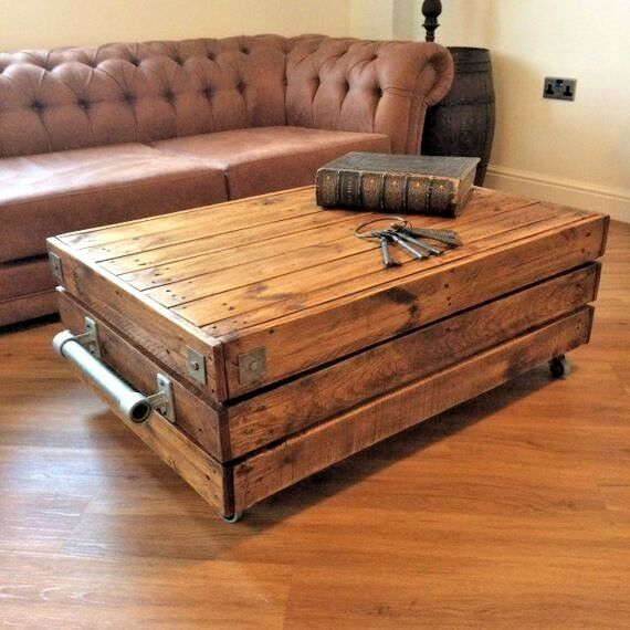 Shabby Chic Coffee Table Nz: Large Reclaimed Wooden Rustic Vintage Industrial Waxed