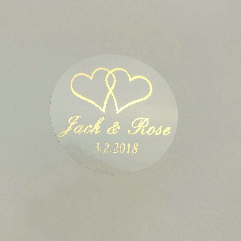100 printing labels custom transparent gold white heart stickers wedding sticker ebay