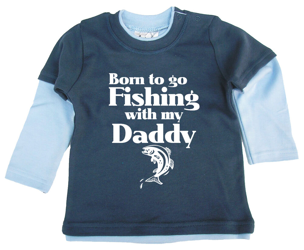 Baby fish clothes born to go fishing with my daddy long for Go fish clothing