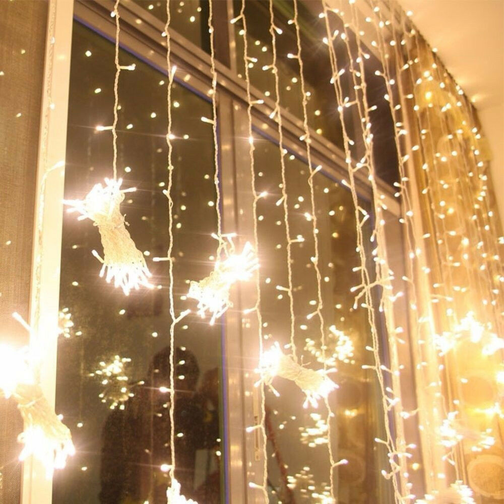 hot 300 1500 led string fairy lights door curtain light. Black Bedroom Furniture Sets. Home Design Ideas