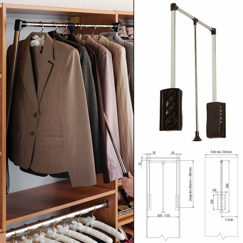 white pull down wardrobe and bedroom clothes rail 450 600. Black Bedroom Furniture Sets. Home Design Ideas