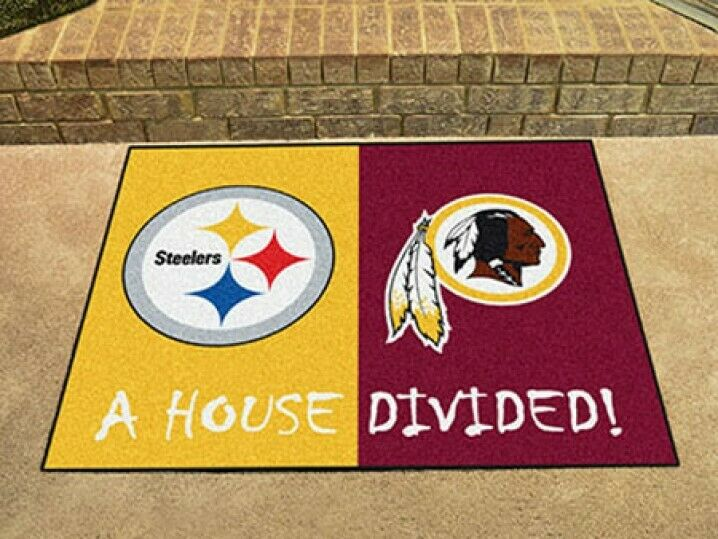 Washington S Pittsburgh Steelers House Divided All Star Area Rug Mat 842281129748