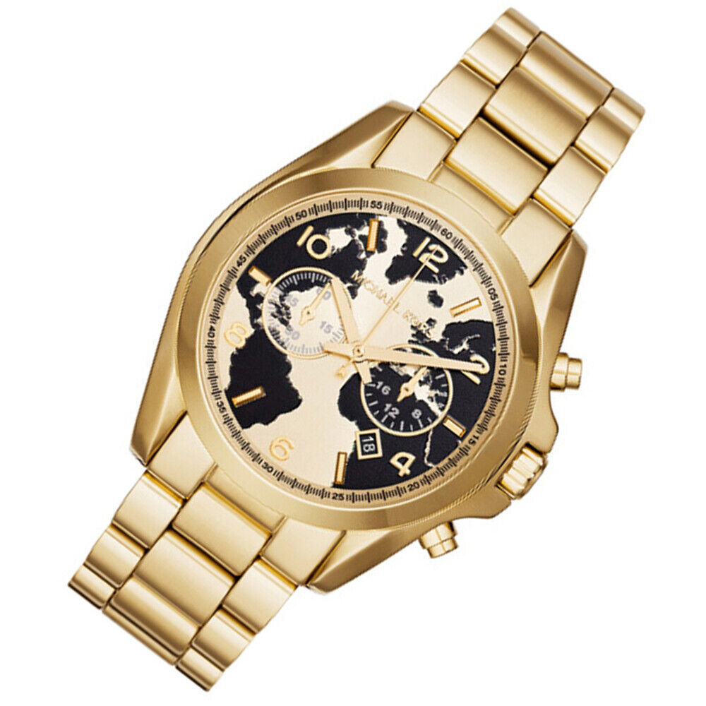 8c9b7543e6fb Details about 100% New Michael Kors Unisex World Gold-Tone Map Face Dial  43mm Watch MK6272