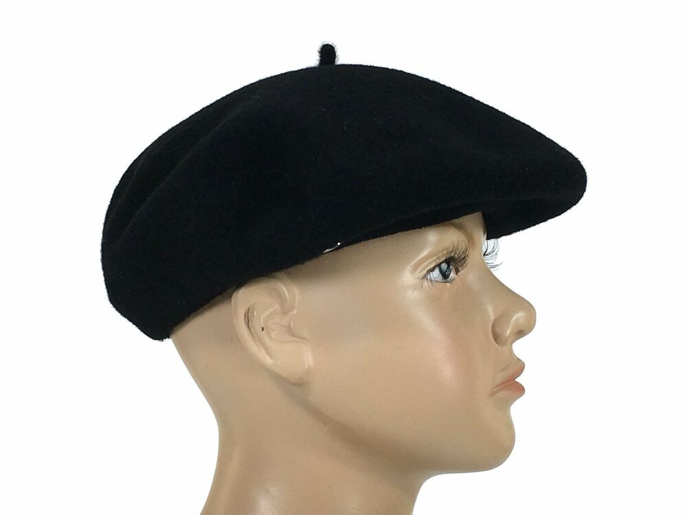 52db53c0232 Details about Laulhere Children 100% Wool Beret Basque Hat Black Made In  France 6 1 8