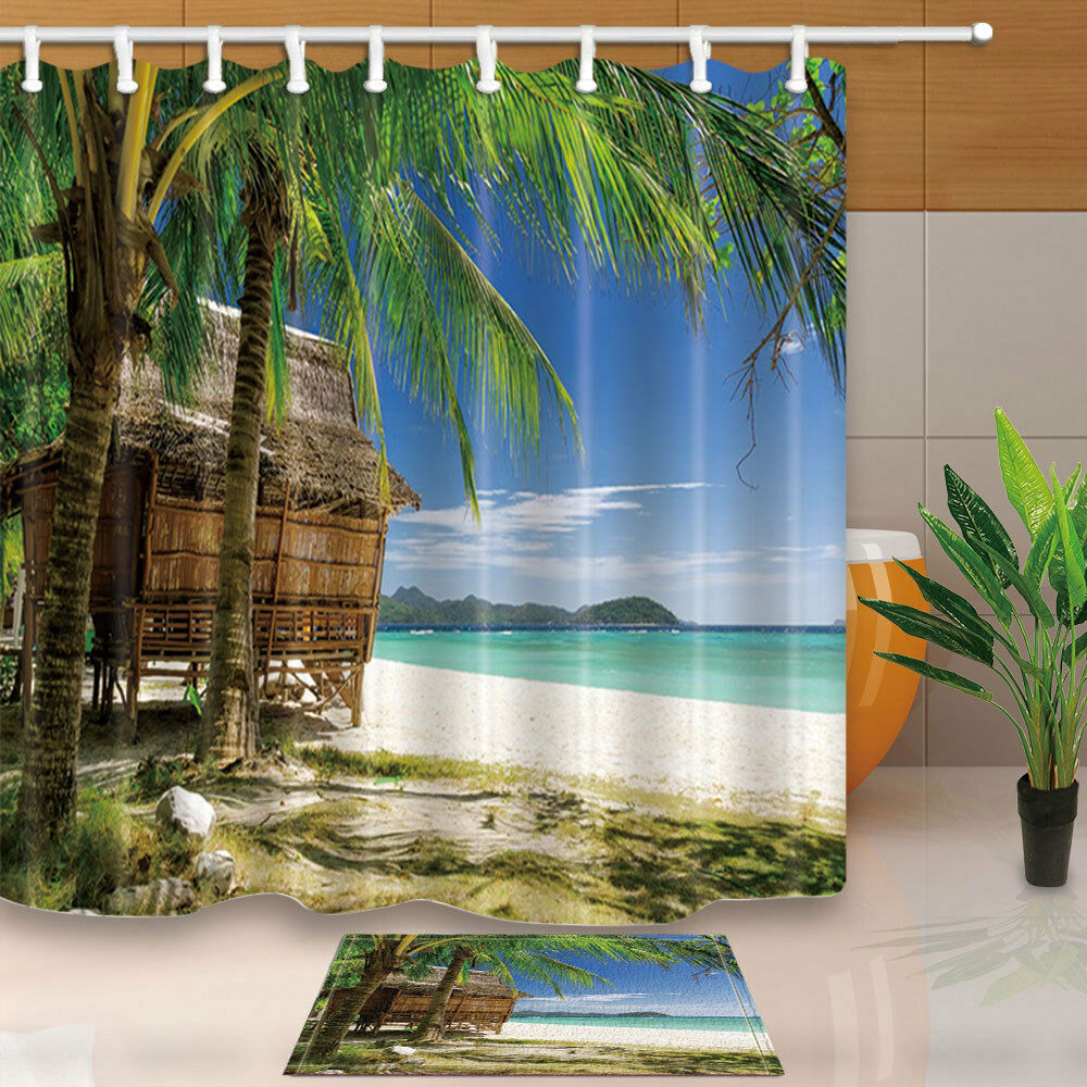 Tropical Beach And Peaceful Ocean: Tropical Beach Palm Tree Ocean House Waterproof Bath