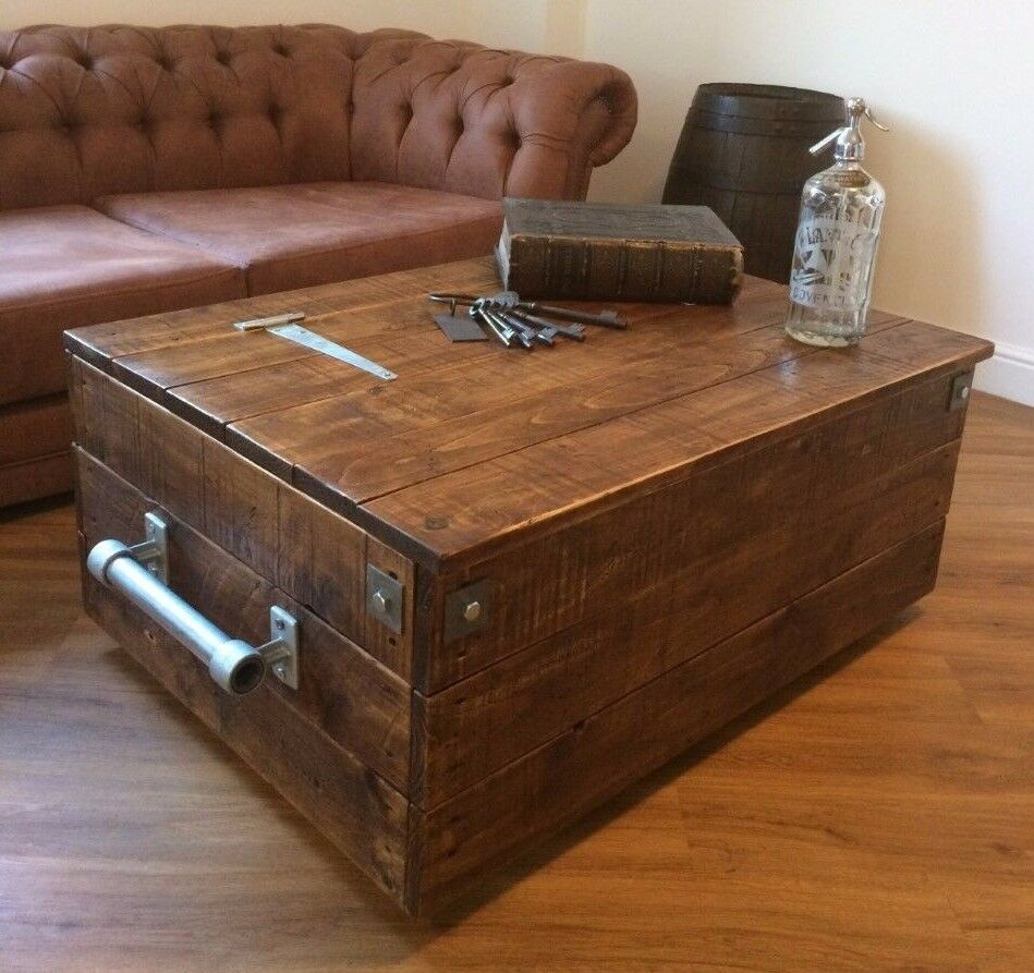 Large Storage Coffee Table: Large Reclaimed Wooden Storage Chest Ottoman Blanket Box
