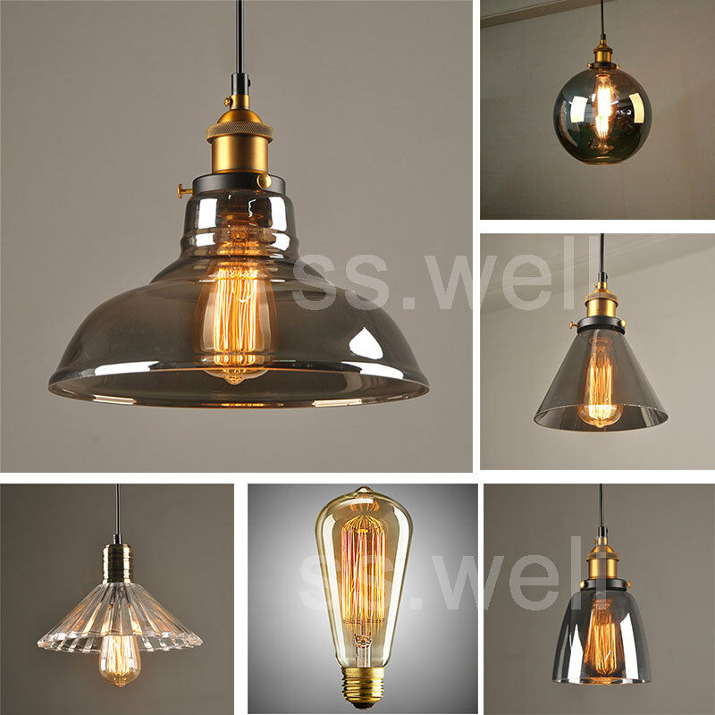 Vintage Industrial Glass Pendant Light: Modern Vintage Industrial Retro Loft Glass Ceiling Lamp