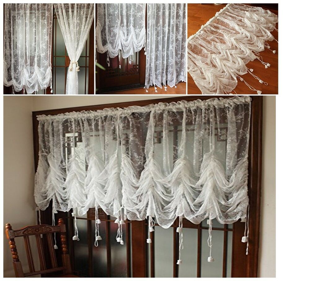 Decorative Curtains Off White Lace Embroidered Sheer