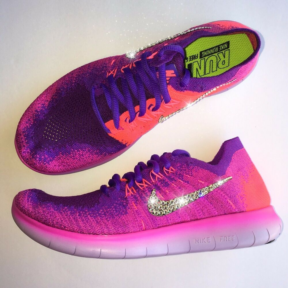 Details about Bling Nike Free RN FlyKnit Running Shoes w  Swarovski Crystal  Swooshes Fire Pink b35548484