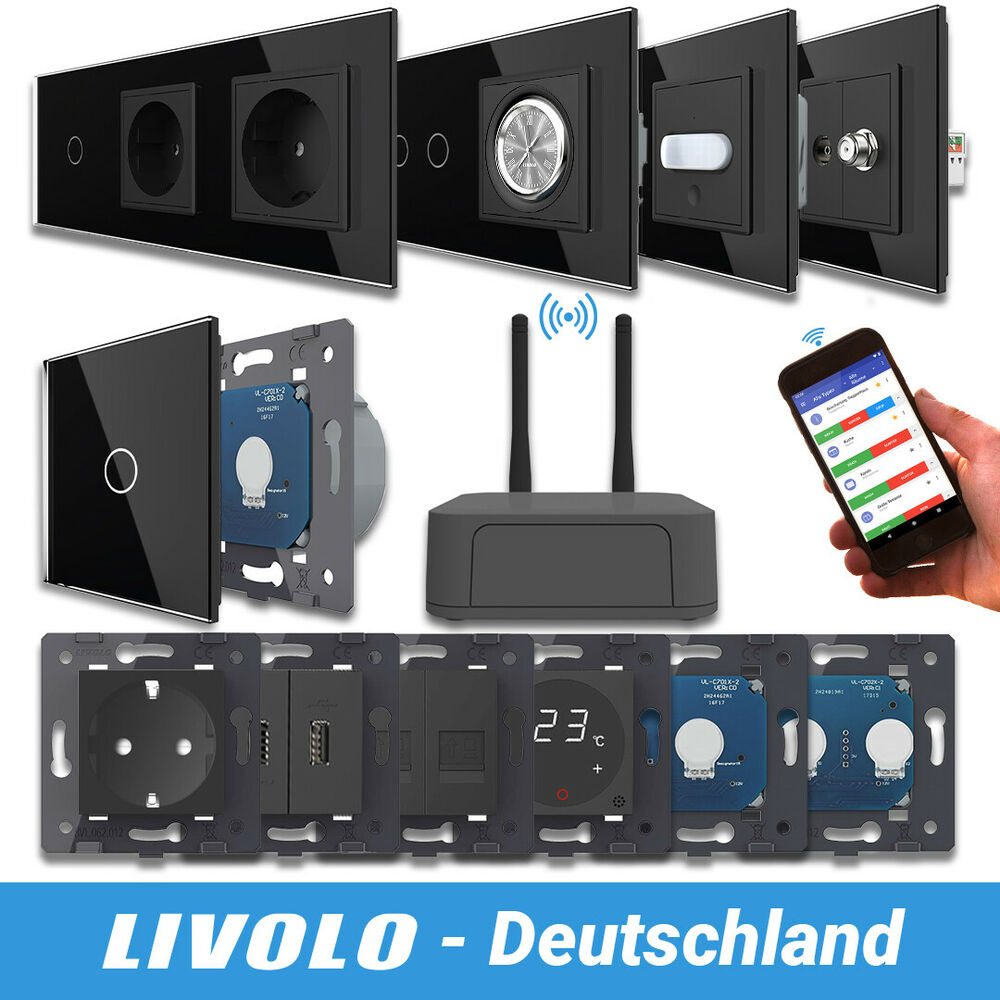 livolo smarthome lichtschalter funk schalter steckdosen dimmer schwarz ebay. Black Bedroom Furniture Sets. Home Design Ideas