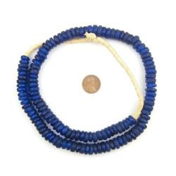 Cobalt Blue Rondelle Recycled Glass Beads 11mm Ghana African Sea Glass Disk
