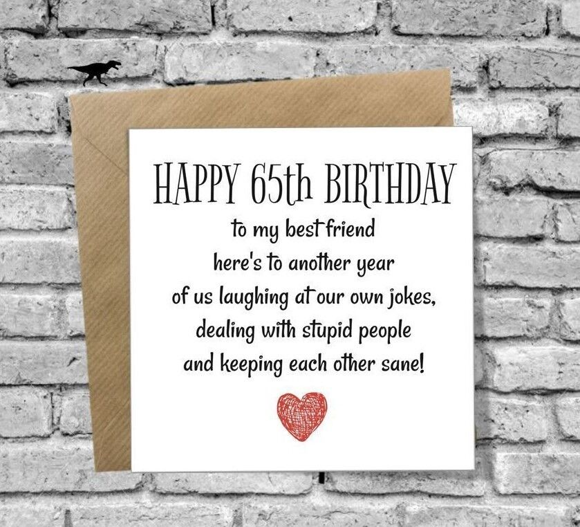 DINOSAURCARDS GREETINGS CARD HAPPY 65th BIRTHDAY FUNNY HUMOUR COMEDY BEST FRIEND