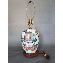 Antique Chinese Famille Rose Ginger Jar Table Lamp with beautiful Scenes