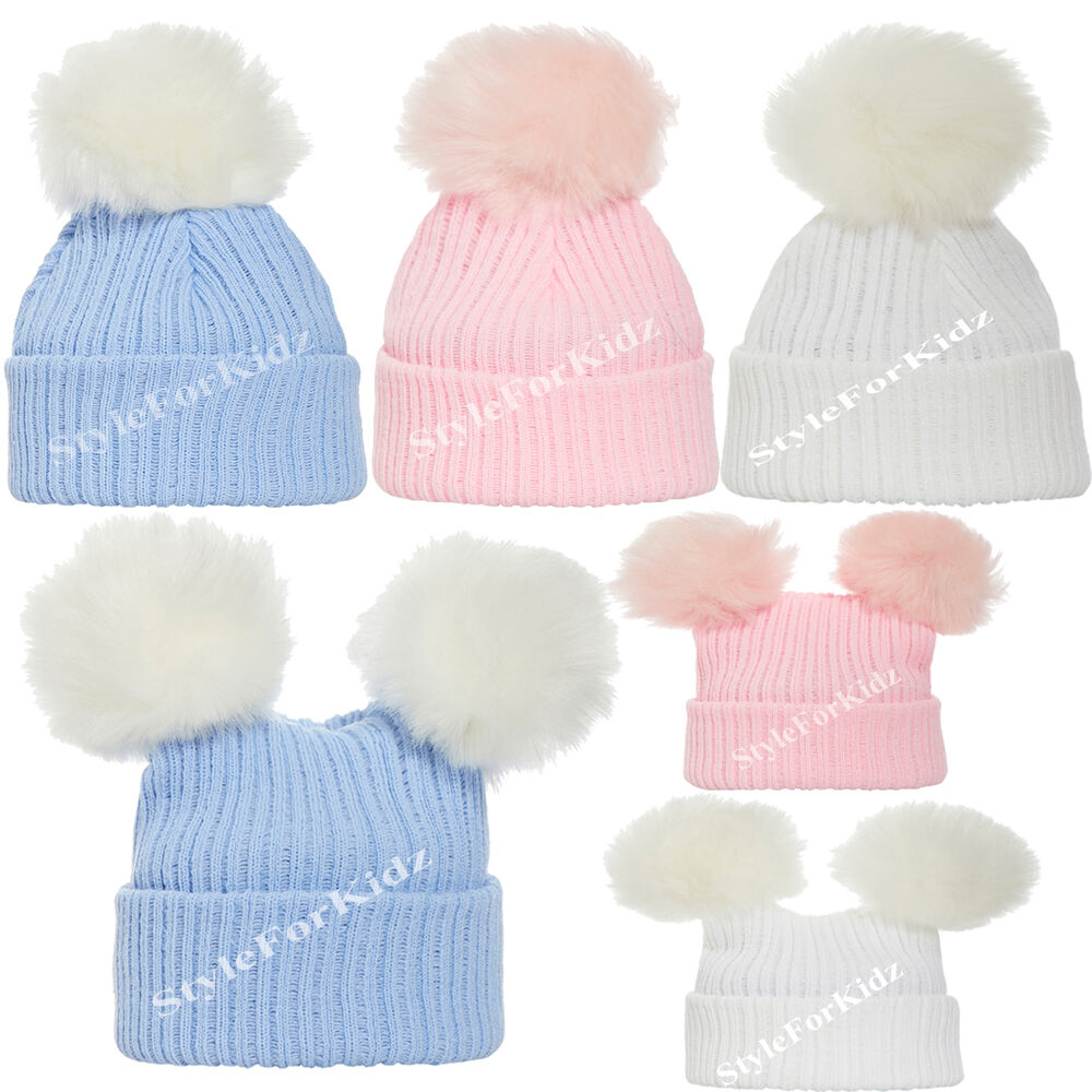 ecbde8aa76c Details about BABY BOYS GIRLS KNITTED FUR POMPOM HATS NEWBORN PINK WHITE  BLUE 0-3 BOBBLE CAP