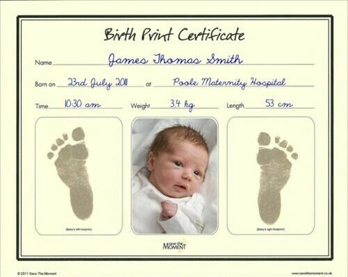 Save The Moment Inkless Footprint Birth Certificate Baby