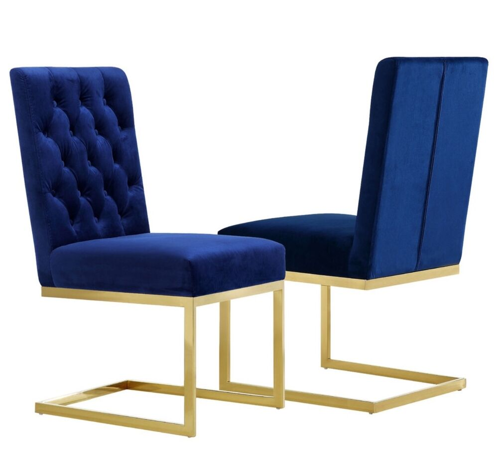 Cole modern style chair with gold metal frame and blue sapphire velvet seat ebay