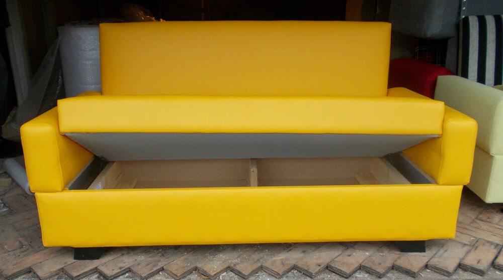 small bright yellow sofa bed 120cm 2 seater sofa bed storage faux rh m ebay co uk IKEA Sofa Bed Black Sofa Bed