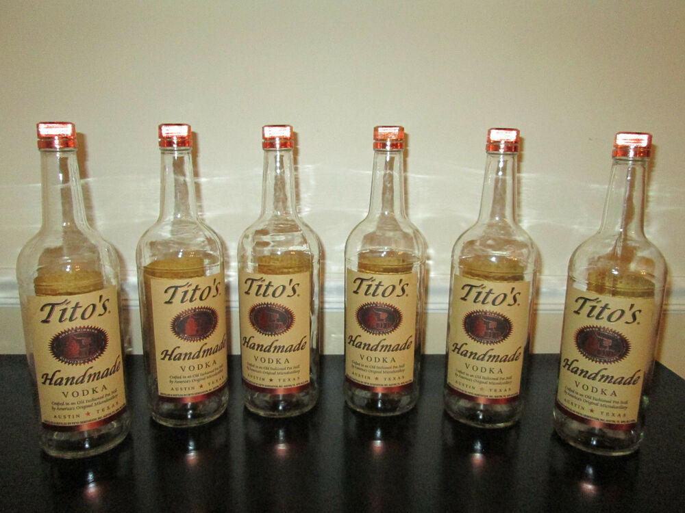 lot of 6 empty 1 liter tito 39 s handmade vodka bottles with. Black Bedroom Furniture Sets. Home Design Ideas