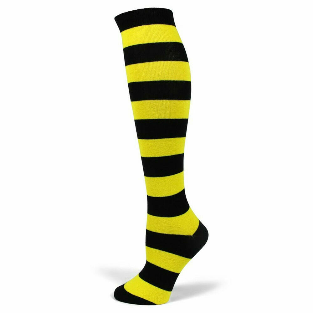 5c726c100c1 Details about PolyMedea Women s Halloween costume Black Yellow Stripe Knee  High Socks PM006