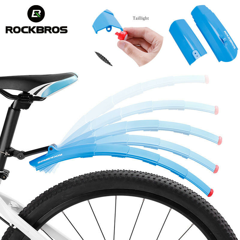 0349701005 RockBros MTB Road Bike Folding Mudguards Front and Rear Fender With  Taillight