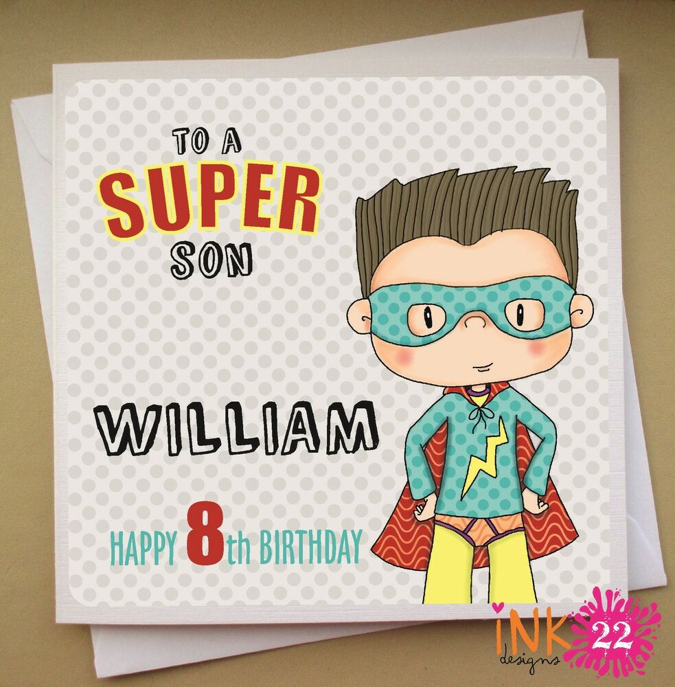 Details About Personalised Birthday Card Superhero Boys 4th 5th 6th Son Nephew Grandson